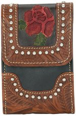 Roses Are Red Small Hand Tooled Brown Leather MP3 Player Case